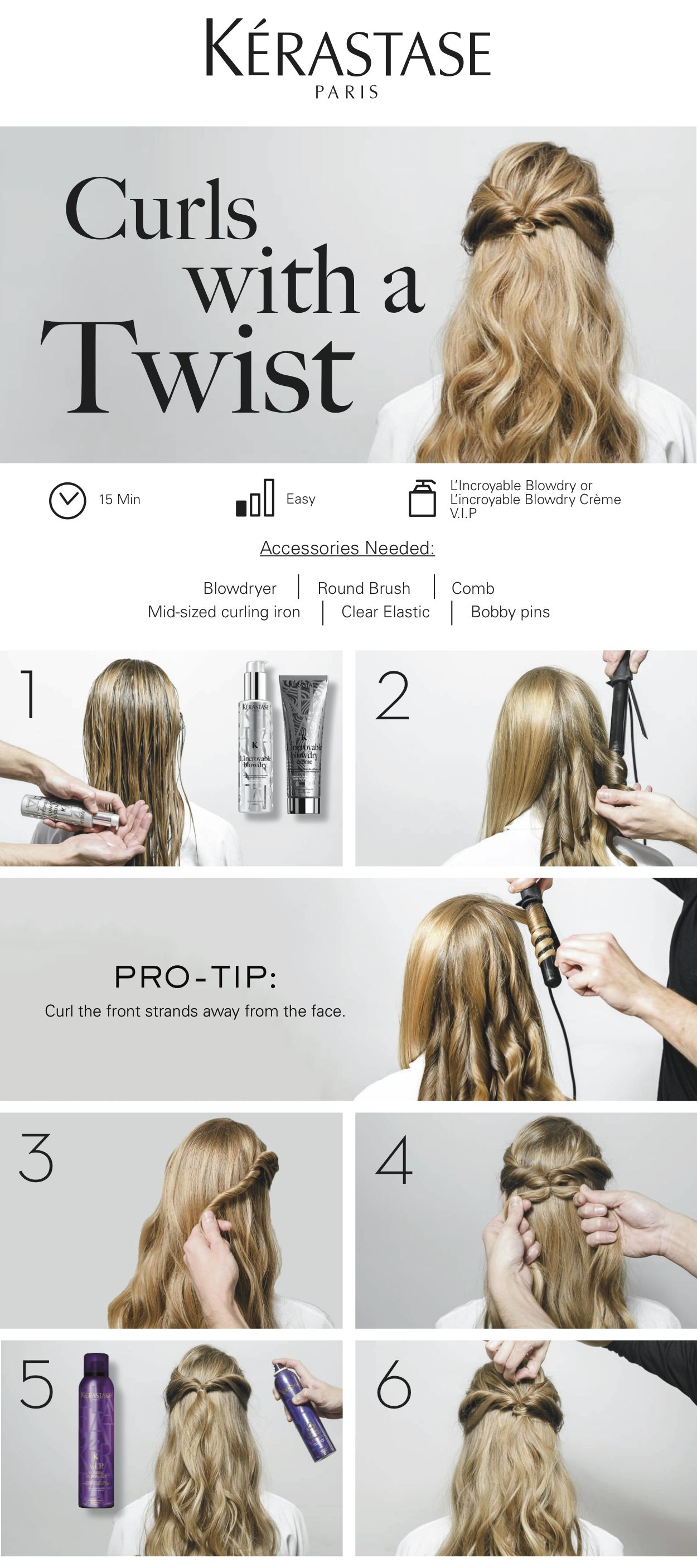 Get The L Incroyable Look Follow Our Step By Step Hair Tutorial To Create Curls With A Twist In Just 6 Simp Half Up Hair Hair Tutorial Bridesmaid Hair Half Up