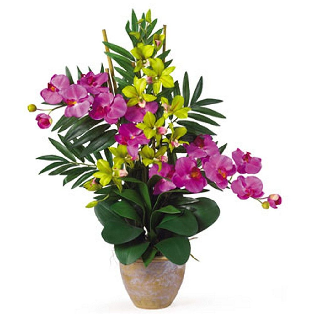 Orchid purple and green double phalaenopsis and dendrobium silk