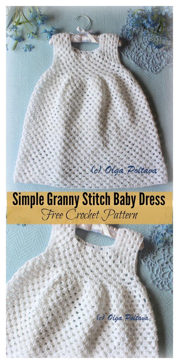 Simple Granny Stitch Baby Dress Free Crochet Pattern #vestidosparabebédeganchillo