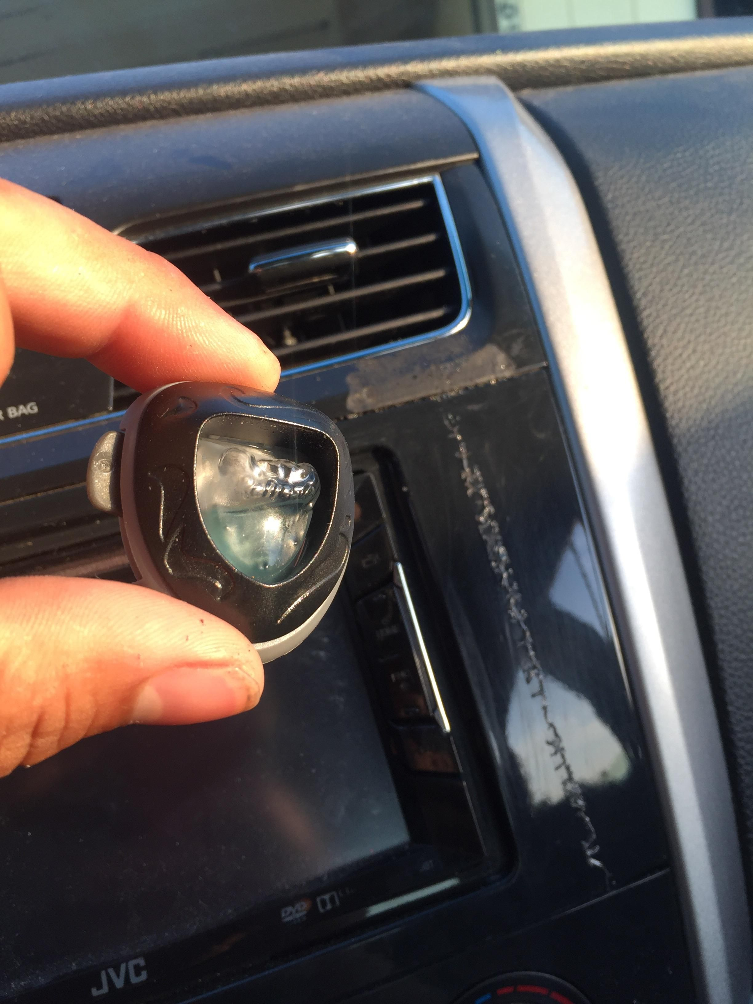 Careful with your head units in this heat. Air freshener