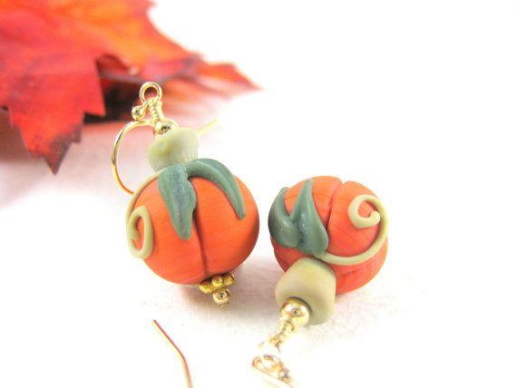 Pumpkin Earrings, Pumpkin Jewelry, Halloween Earrings, Fall Autumn Lampwork Earrings, Nature Jewelry, Gold Filled Earrings - Pumpkin Patch