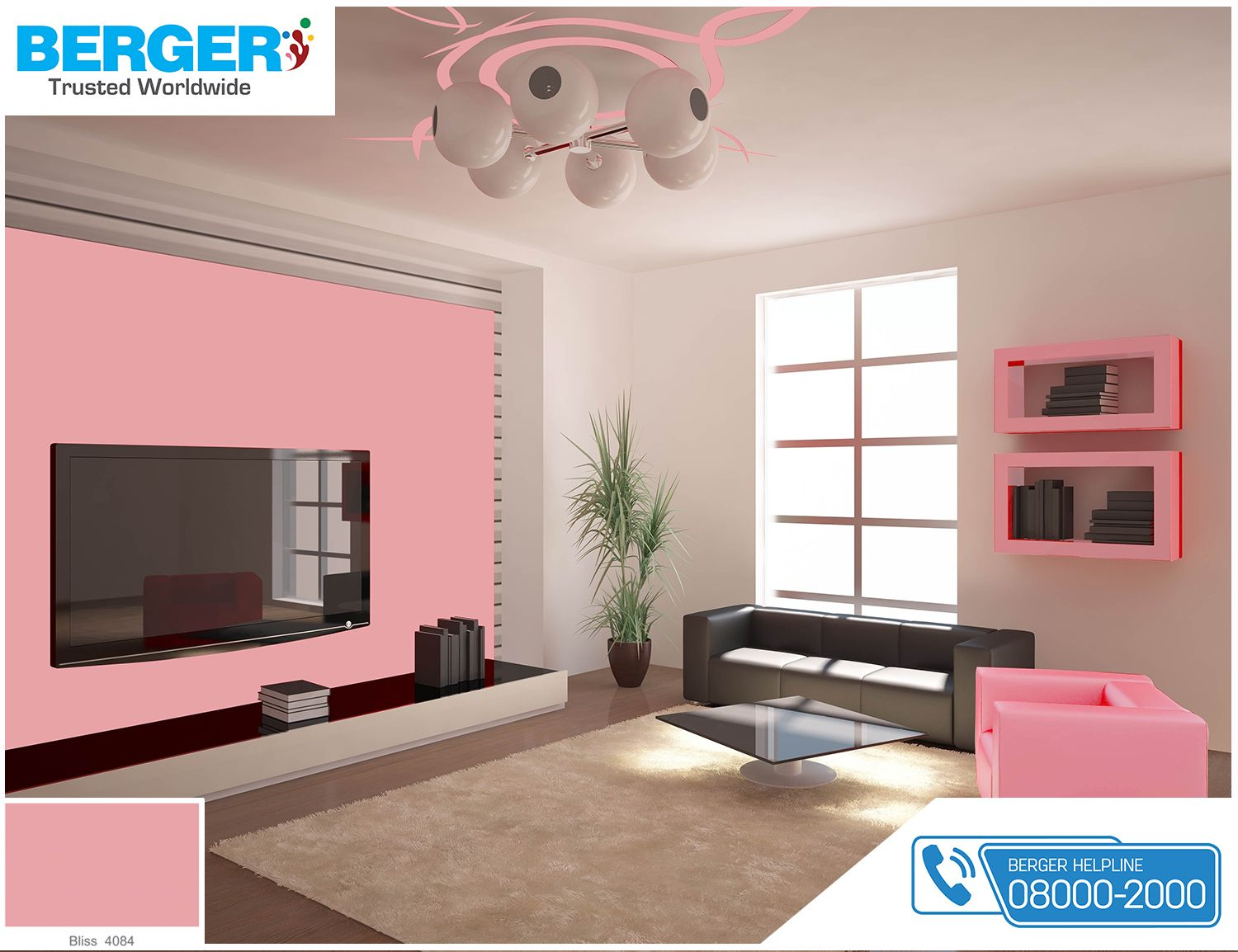 Try attractive bliss color in your tv lounge berger paints