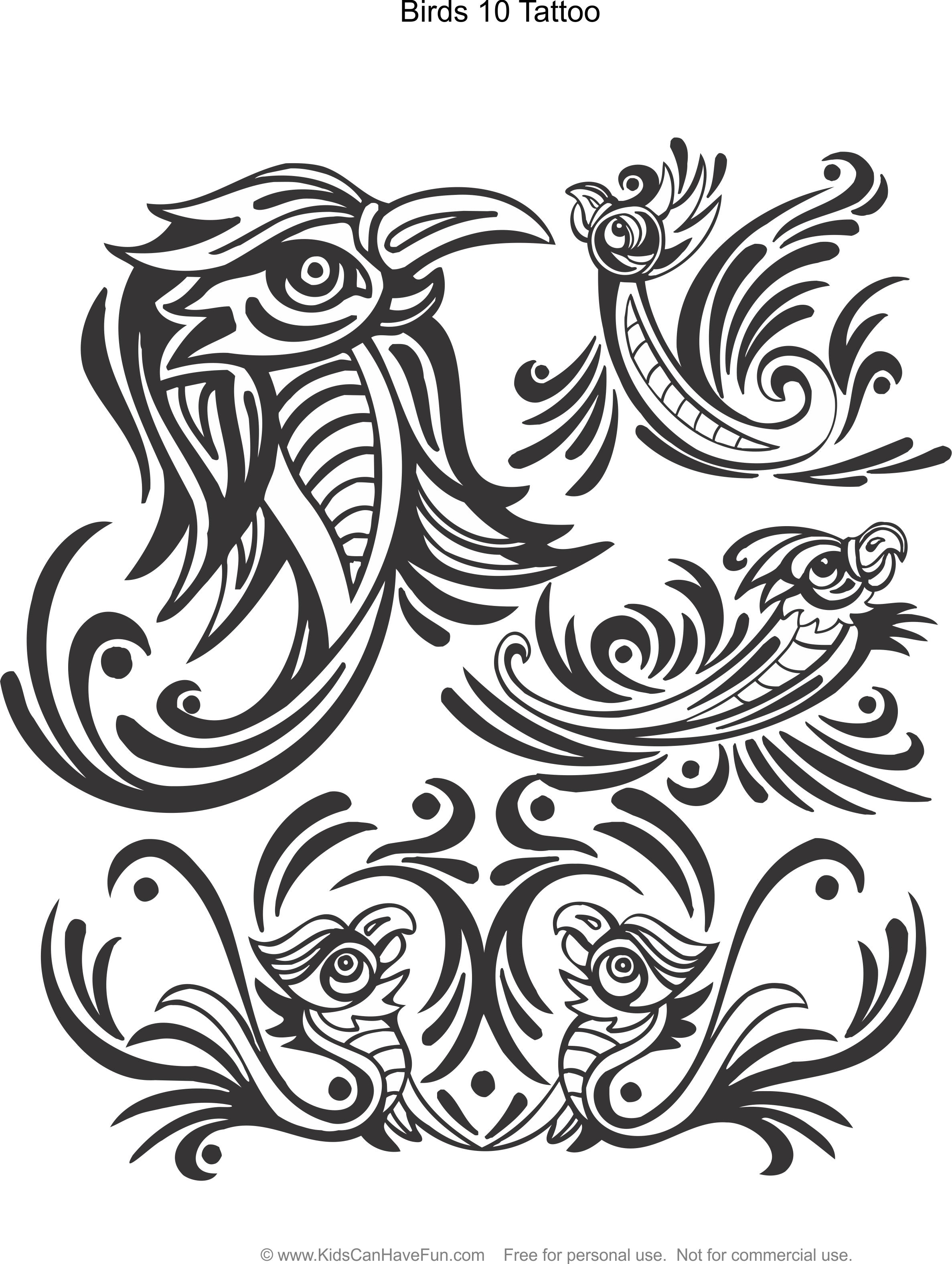 Birds 10 Tattoo Design Coloring Page Kidscanhavefun