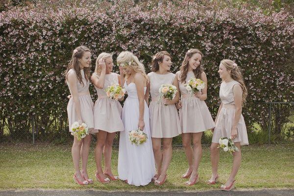 Short tan bridesmaid dresses. | bridesmaids | Pinterest ...