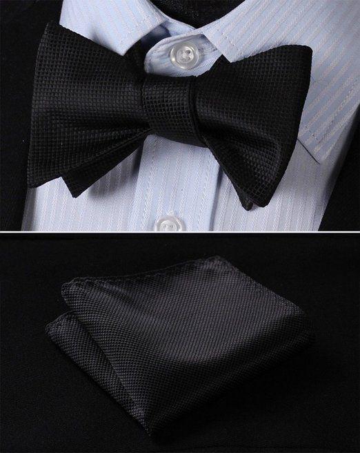 SetSense Men's Solid Jacquard Woven Self Bow Tie Set One Size Black