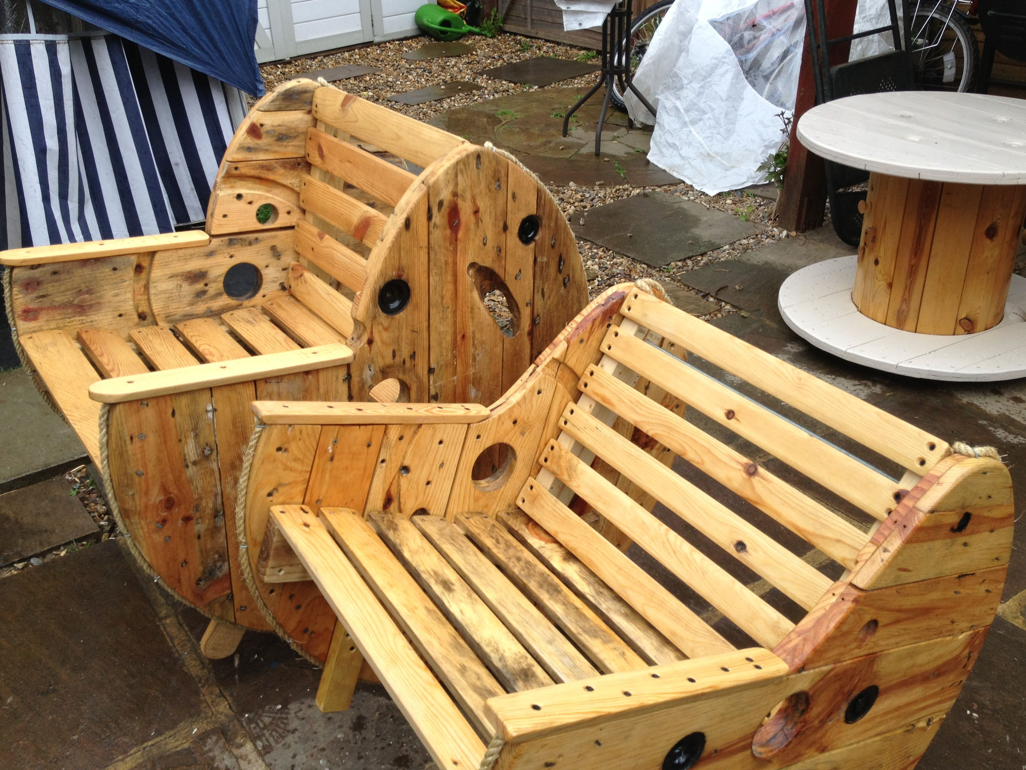 Wooden cable reel chairs available to buy, made to order @  cabletables@gmail.