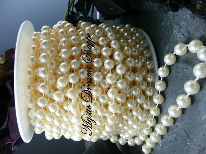 10mm Ivory Faux Bead Spool - 66 Feet   $36.00