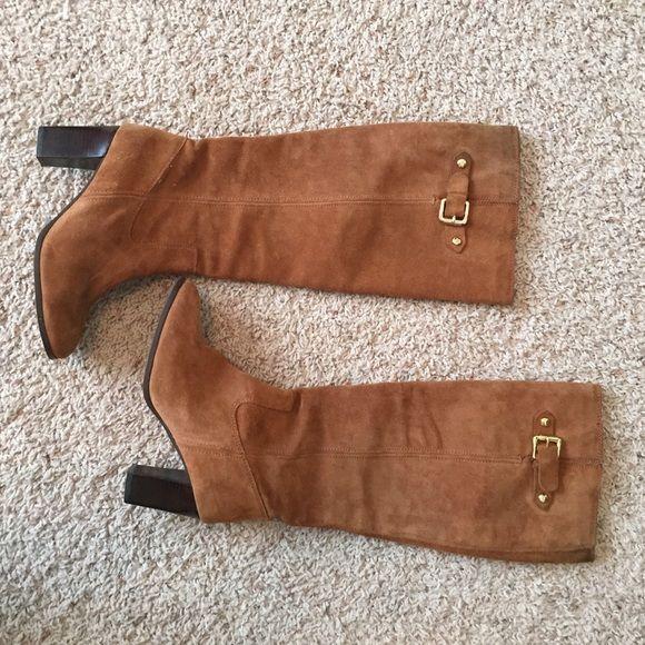Brown Michael Kors boots. Size 7 Michael Kors boots. Light brown. Size 7. Gold buckle detail Michael Kors Shoes