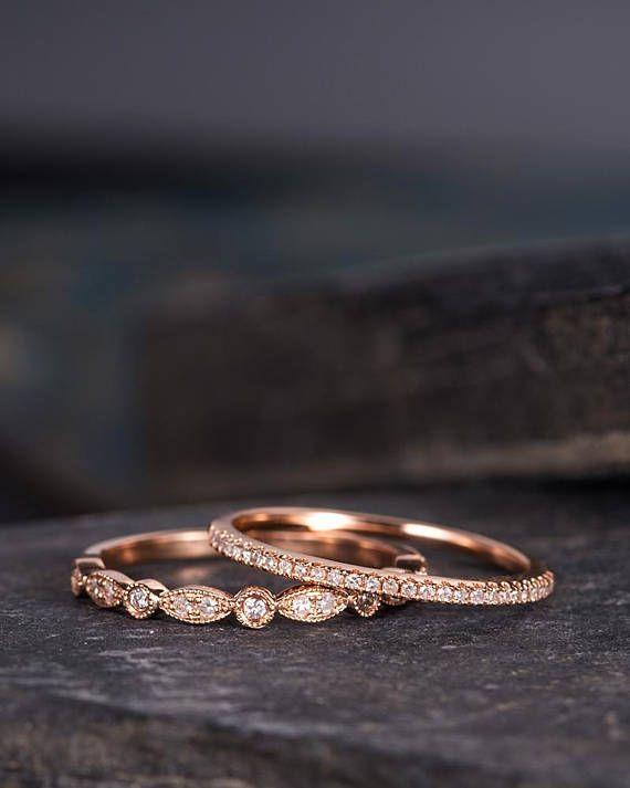 Milgrain Wedding Band Women Rose Gold Art Deco Diamond Eternity