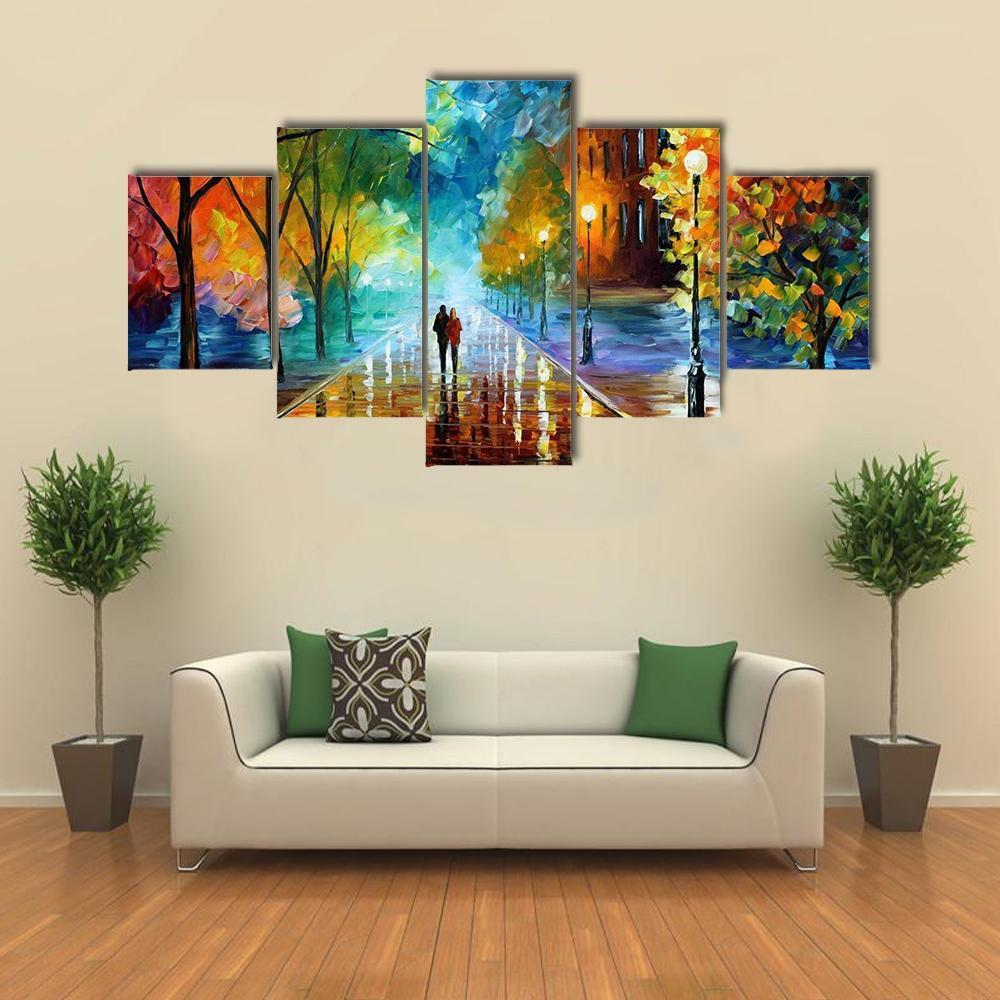 Beautiful Abstract Of Couple Walking In Park Abstract 5 Panel Canvas Art Wall Decor Canvas Art Wall Decor Diy Canvas Wall Art Wall Canvas