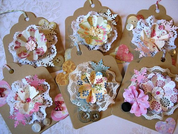 Shabby Chic Gift Tags Flower gift tags by littledebskis on Etsy
