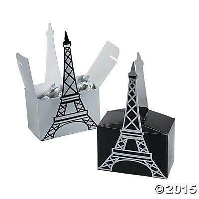 Paris Treat Box Eiffel Tower Decoration Birthday Party Decoration Supply  8ct