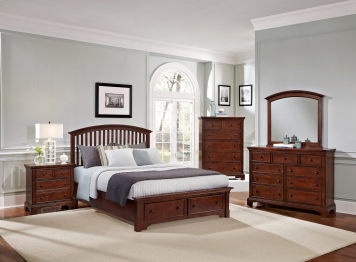 Forsyth Cherry Queen Arched Storage Bedroom Set Vaughan Bassett