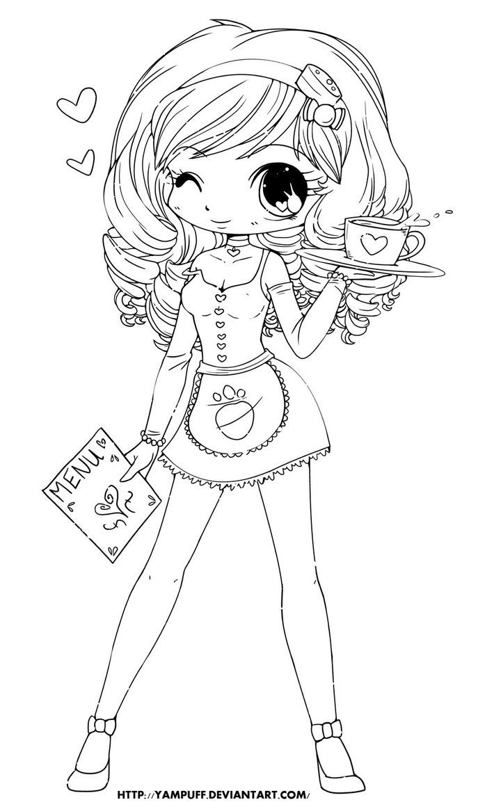 Chloe Lineart by *YamPuff at Deviantart Chibi coloring