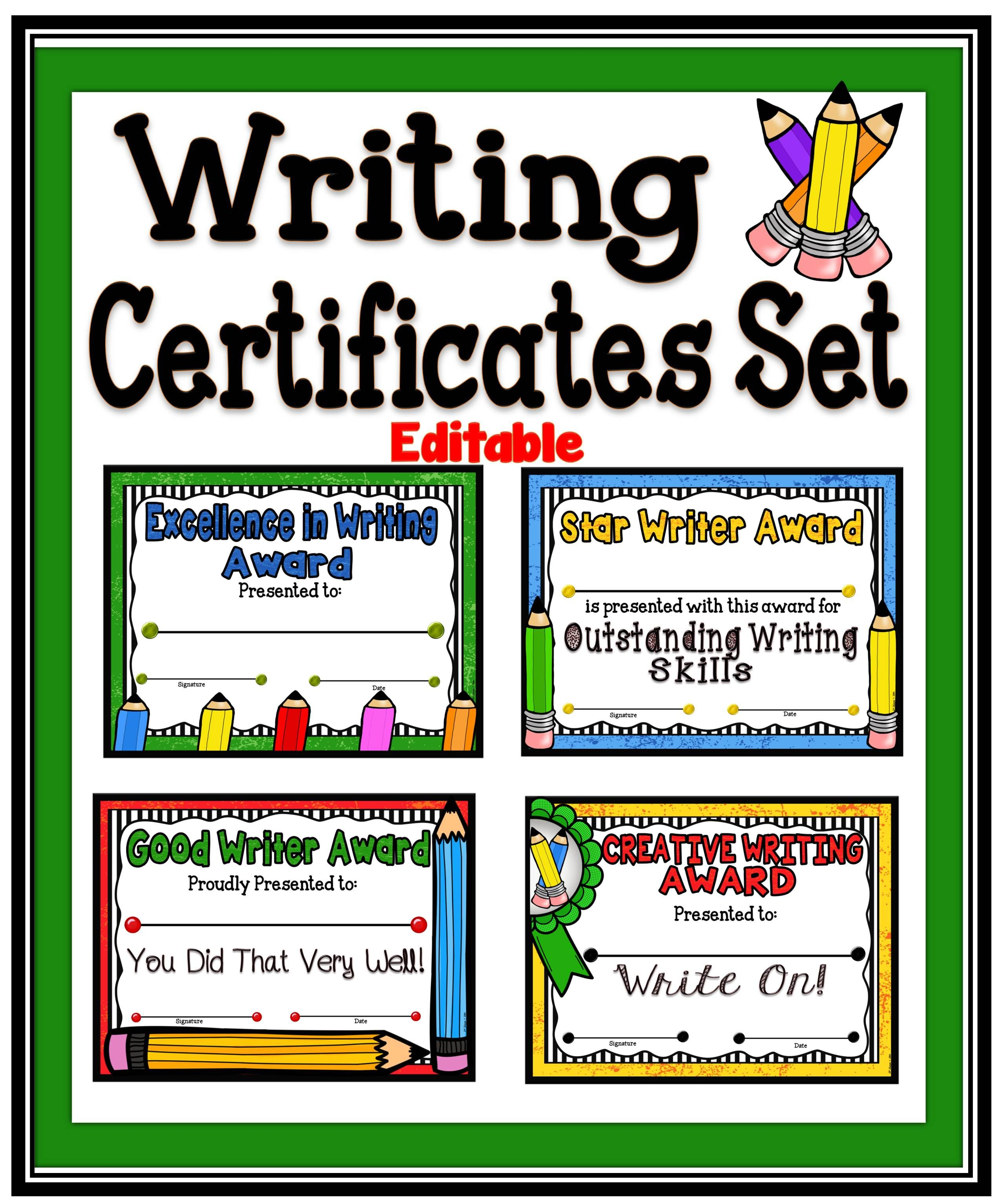 Writing Awards Certificates Set Fillable A Teacher In Paradise