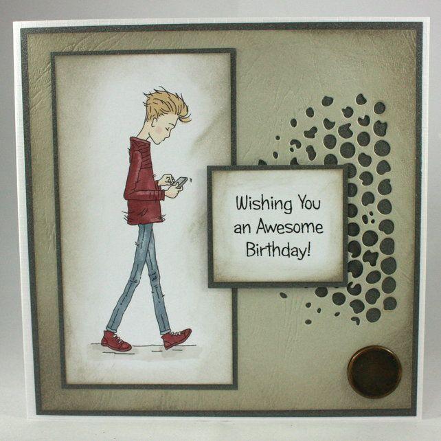 Handmade Birthday Card For Teenage Boy Wishing You An Awesome