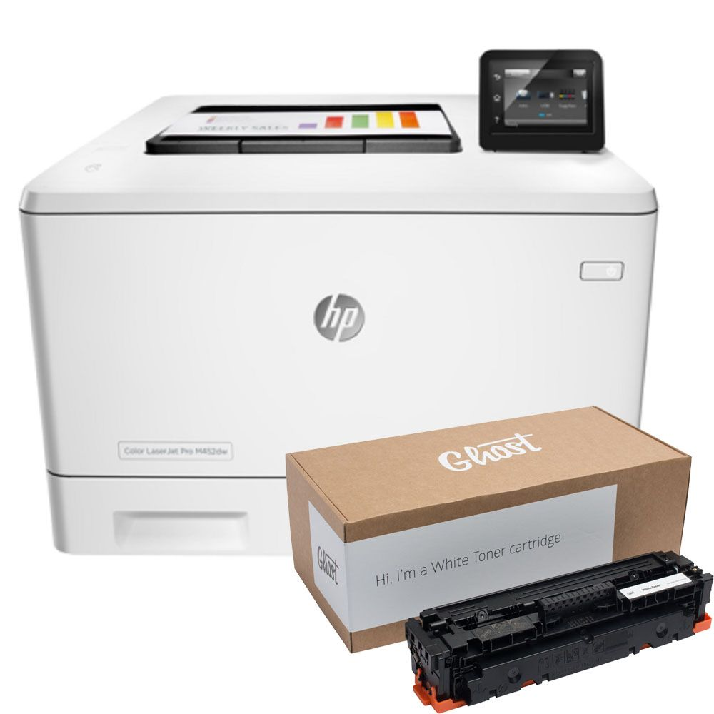 Hp Color Laserjet Pro M452dw Printer With Ghost White Ink White Toner White Ink Mobile Print