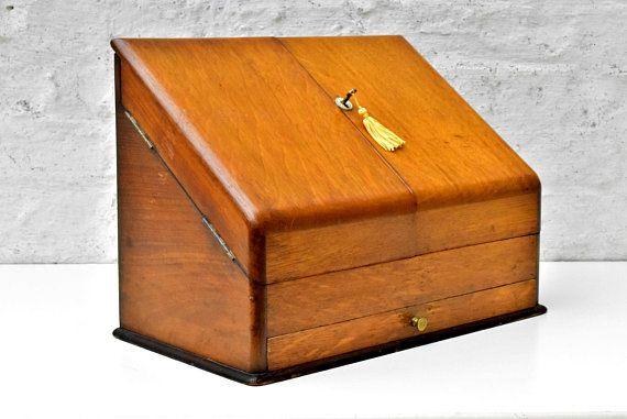 Antique Letter Holder - File Storage Box - Victorian Oak Wood Stationary  Cabinet - Home Office Desk Organizer - Antique Furniture UK 1900s. - Antique Letter Holder - File Storage Box - Victorian Oak Wood