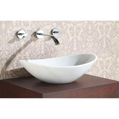 Avanity Stone Vessel Sink - Oval White Marble in 2018 Bathroom