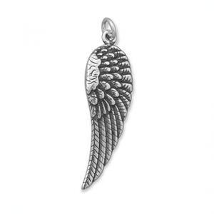 Oxidized Angel Wing Charm