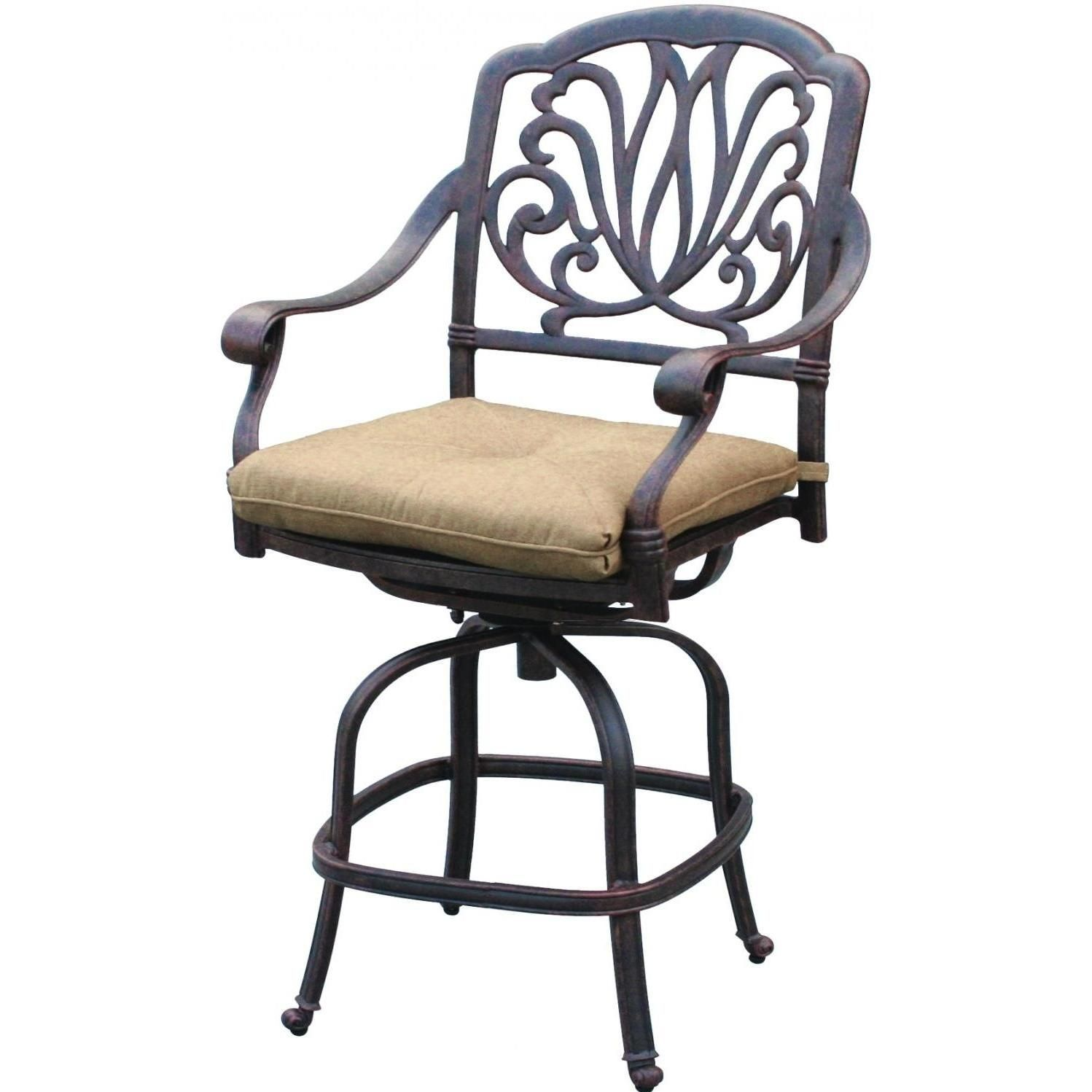 Furniture Outdoor Swivel Bar Stool With Ornate Iron Back and White ...