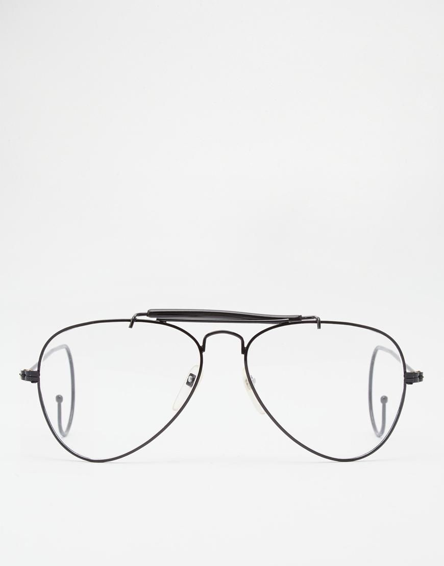 Reclaimed Vintage | Reclaimed Vintage General Aviator Clear Lens Glasses at ASOS