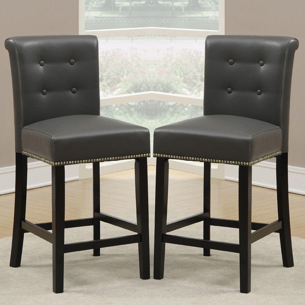 Set Of 2 Dining High Counter Height Chair Bar Stool 24 H Grey Pu