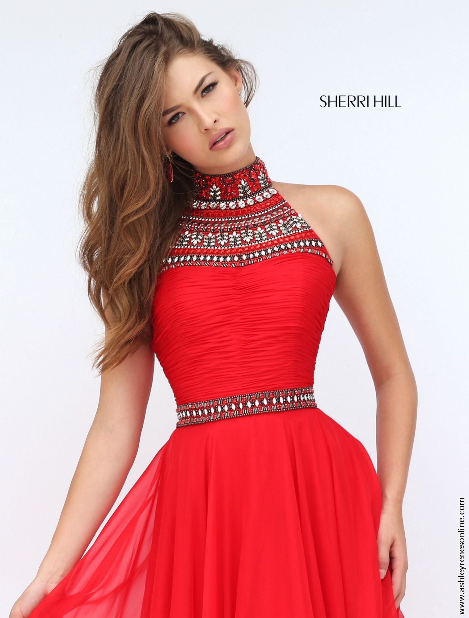 Sherri hill red prom dress at ashley reneus elkhart in