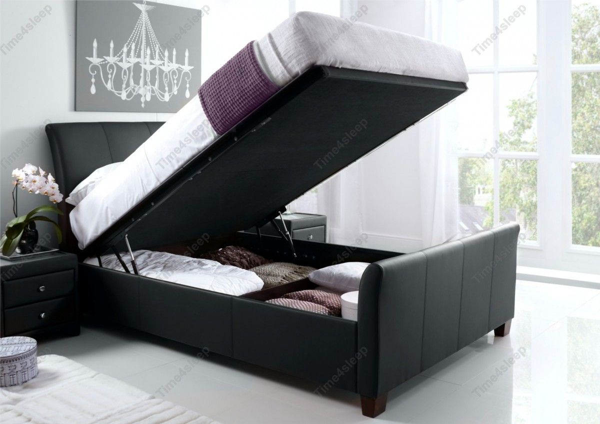 Kaydian Allendale Leather Ottoman Storage Bed - Black - Kaydian ...