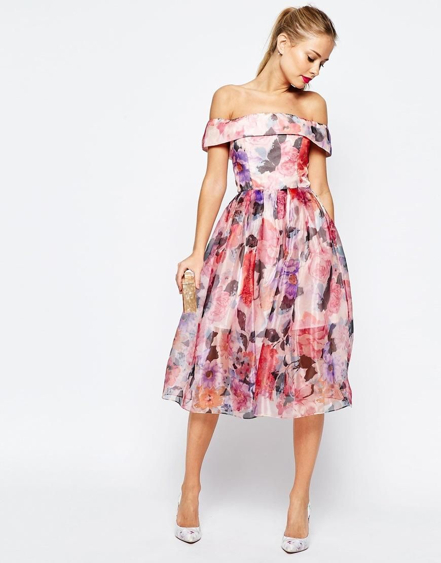 ASOS | ASOS SALON Floral Organza Off The Shoulder Bardot Midi Prom ...