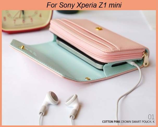2582190f5e Crown Smart pouch Girls Love Wallet Mobile phone Bag case for Sony Xperia  Z1 mini M51w M36h Xperia ZR SP Xperia M2 S50h Xperia L-in Phone Ba.