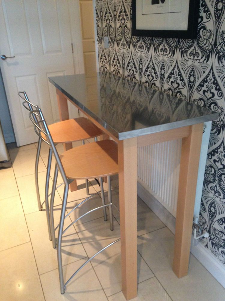 Breakfast Bar Support Legs Table And 2 High Chairs Ebay