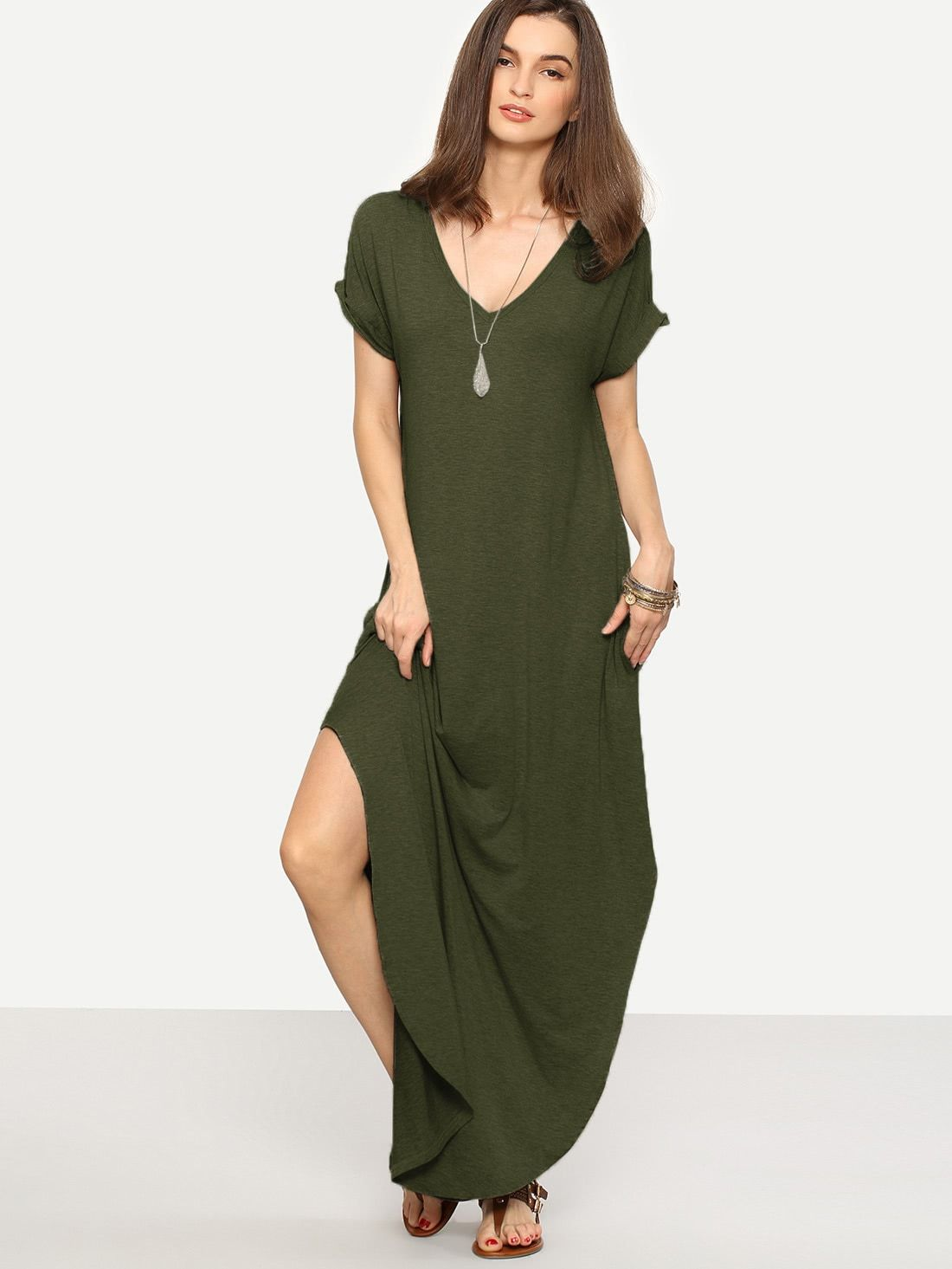 aa98e86335b Casual Tunic Plain Shift Slit V Neck Short Sleeve Roll Up Sleeve Natural  Army Green Maxi
