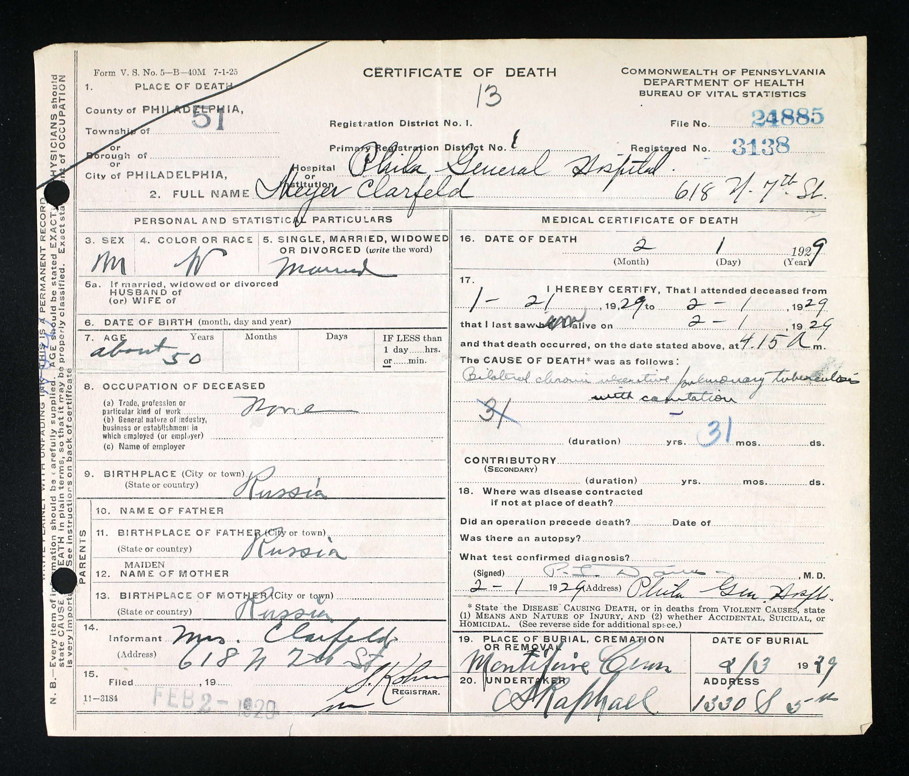 Meyer Clarfeld Sex: M Race W Age: 50 Birth abt 1879 Birth Russia ...