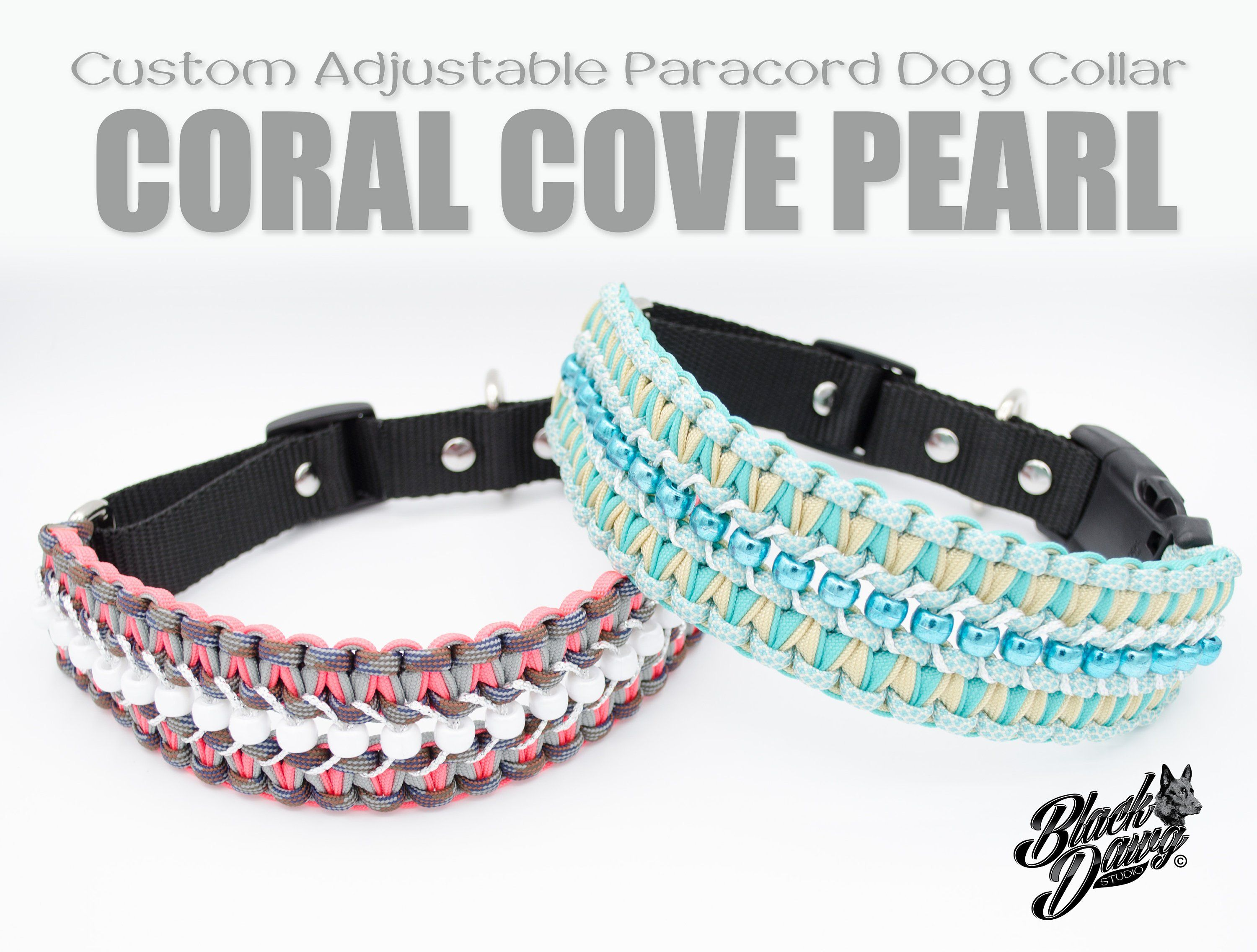Custom Adjustable Paracord Dog Collar Coral Cove Pearl Design