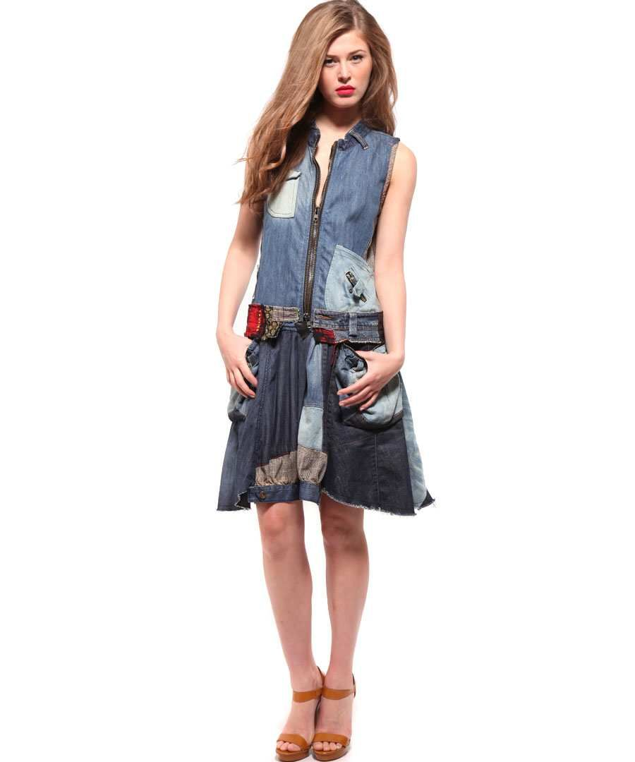 c728dbd92 Desigual Denim Patchwork Dress in Blue