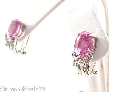 4.62CT Fine Pink Topaz & Diamond French Clip Earrings New 14K White Gold G/SI3