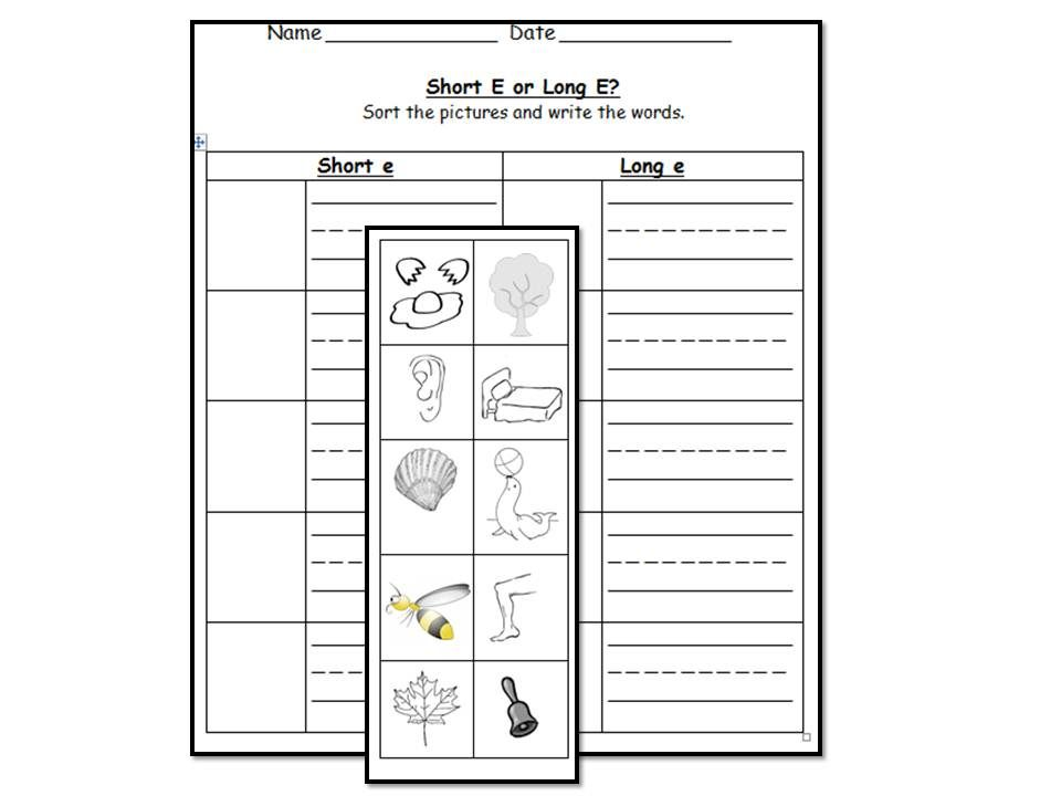 Long E vowel sound literacy center activities & worksheets