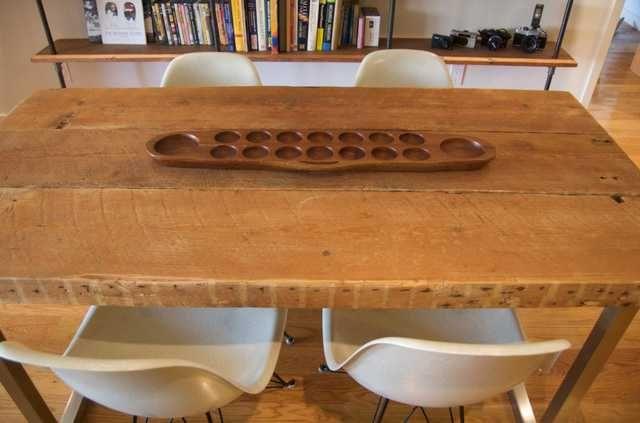 Küchentisch Ikea ~ Tisch aus alten bohlen und ikea beinen. die alten bohlen wurden