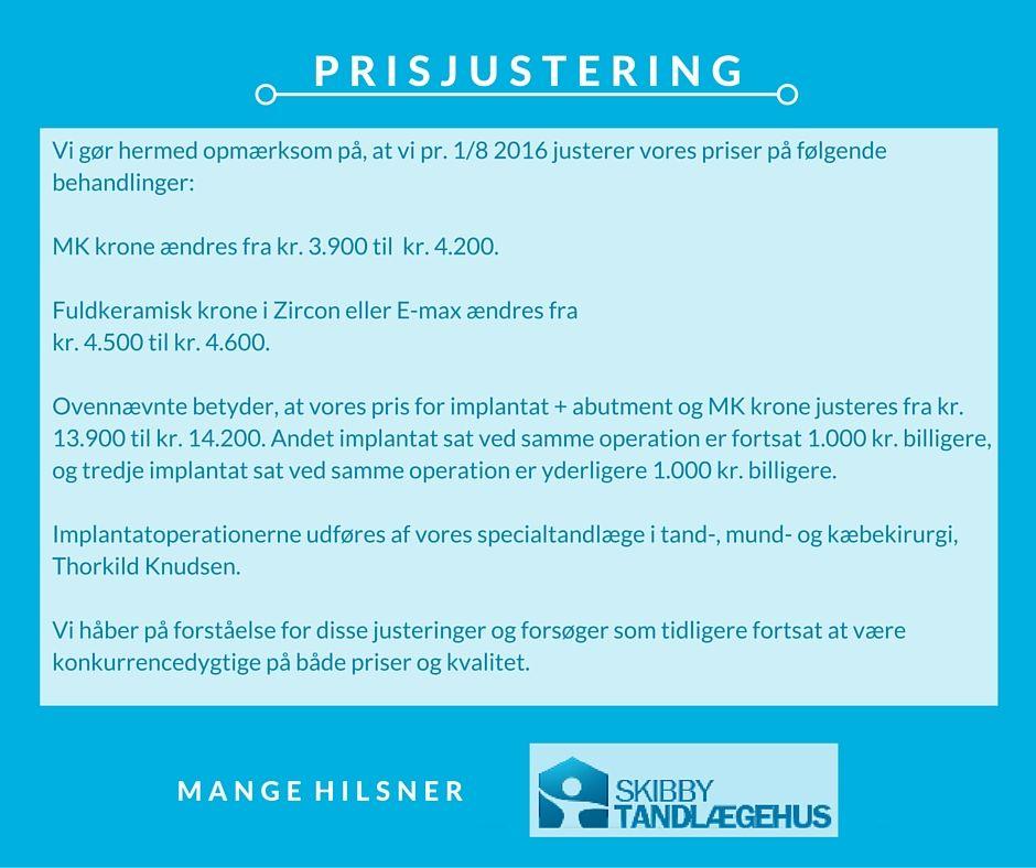- PRISJUSTERING -