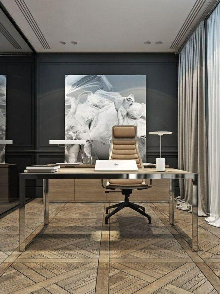 7 Arbeitszimmer Gestalten Boden Aus Holz Beige Stuhl Bild Graue Gardinen Weisser Laptop Luxus Moderne Hauser Modernes Homeoffice Buroraumgestaltung