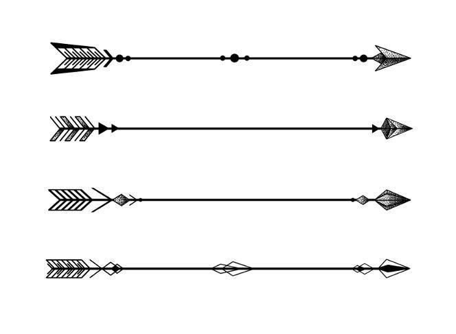 Minimalist Geometric Arrow Tattoo - Dotted Shadow - No Colour