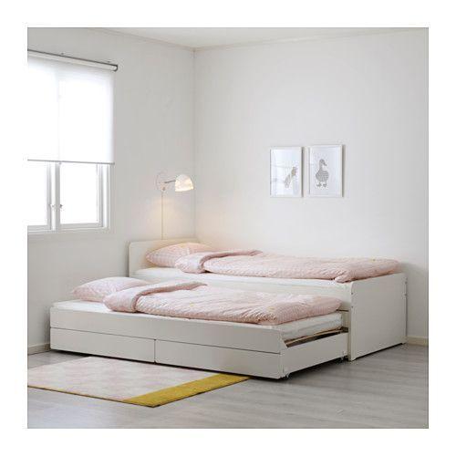 Slakt Bettgestell Unterbett Aufbewahrung Weiss Ikea Deutschland Bettgestell Bett Mit Unterbett Kinderbett Ausziehbar