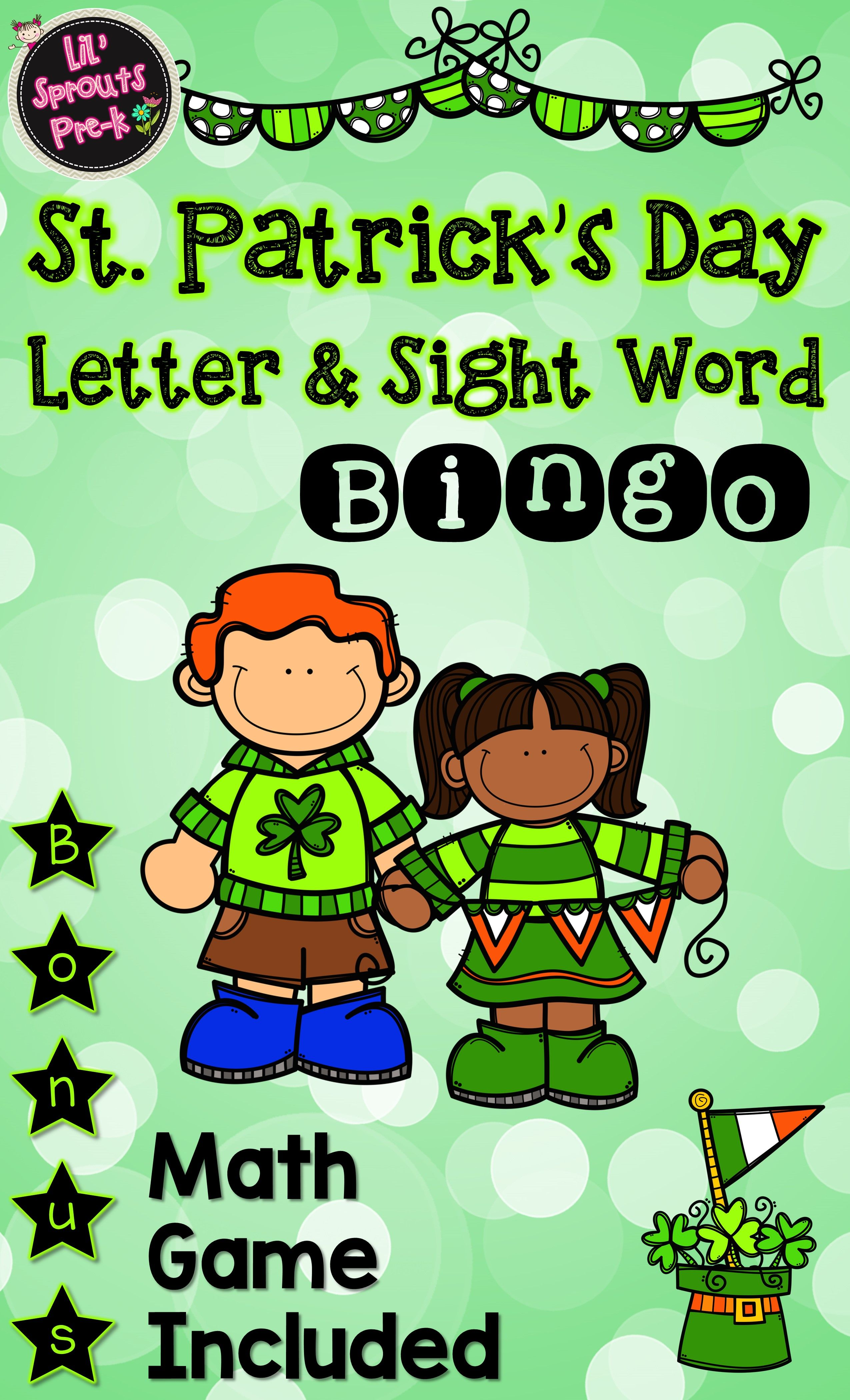 St Patrick S Day Bingo For Literacy Centers