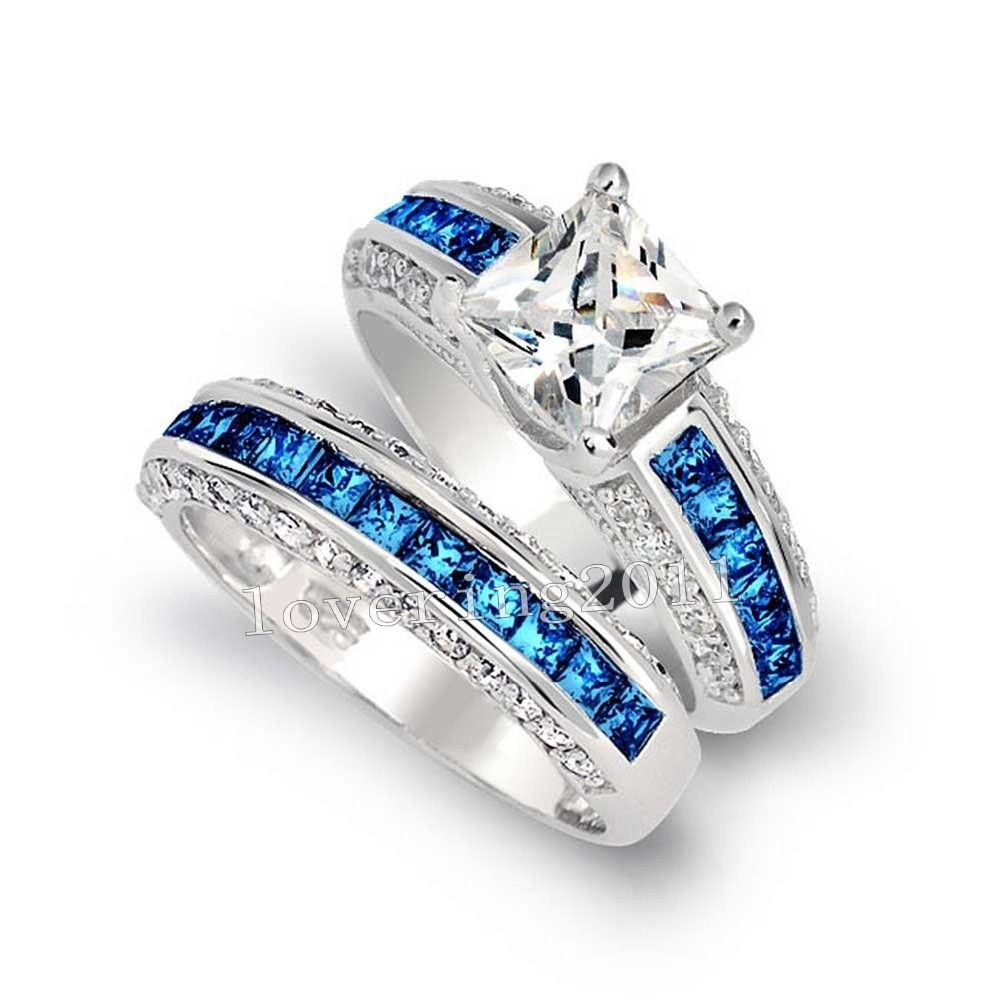Ring Luxury Tanzanite Diamonique 10KT White Gold Filled Blue Sapphire Gem Simulated Diamond Women Wedding Set