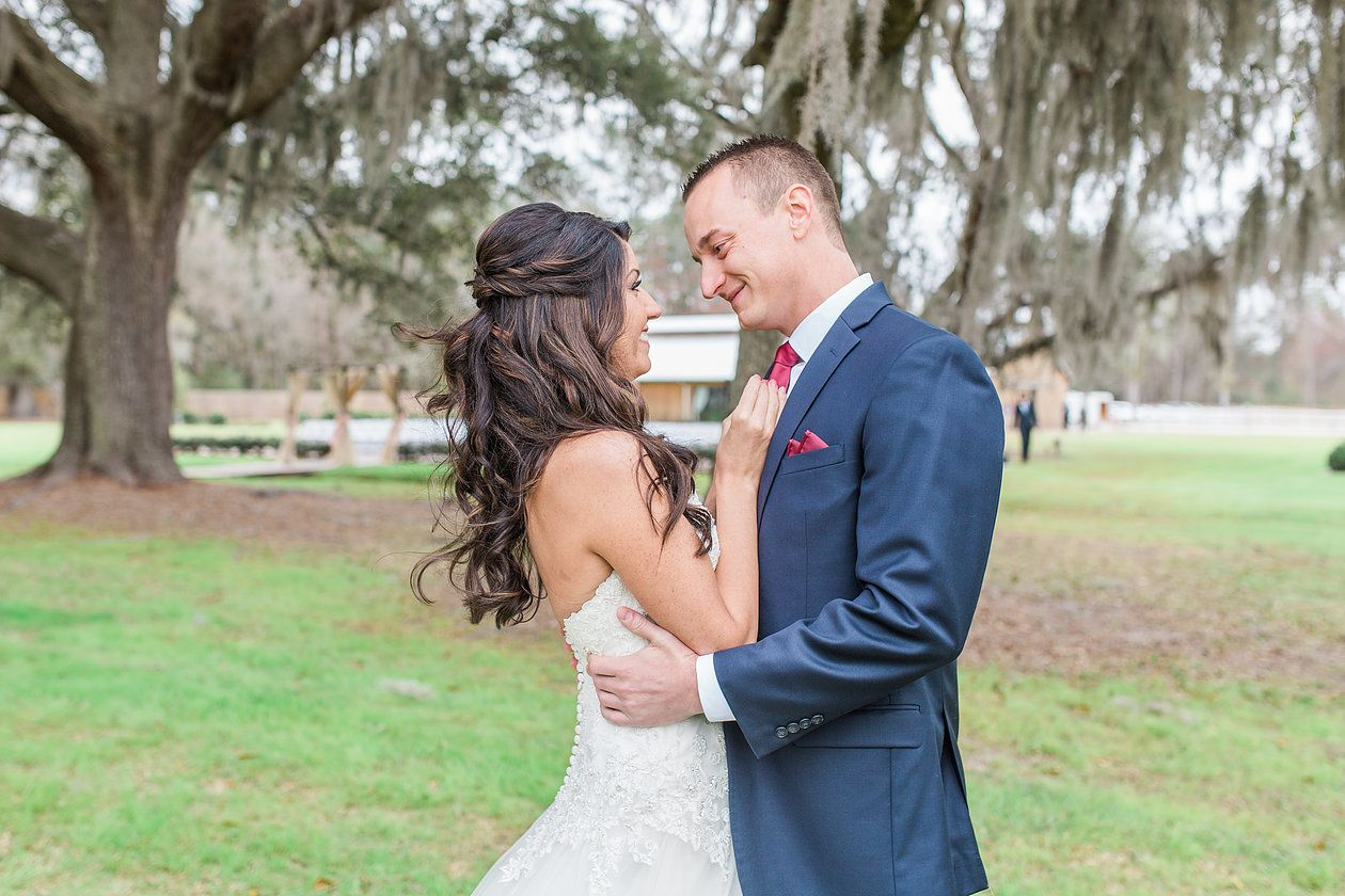 Bride & Groom Photography at Plantation Oaks Farms in Callahan, Fl. By The Copper Lens Photography Co.   Wedding Dress   Barn Wedding   Rustic   Elegant Wedding Photography   First Look   Bridal   Portraits