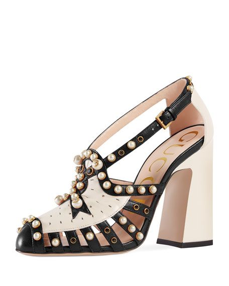9cac37859ff Gucci Tracy 100mm Pearl Studded Pump | eccentric shoes | Studded ...