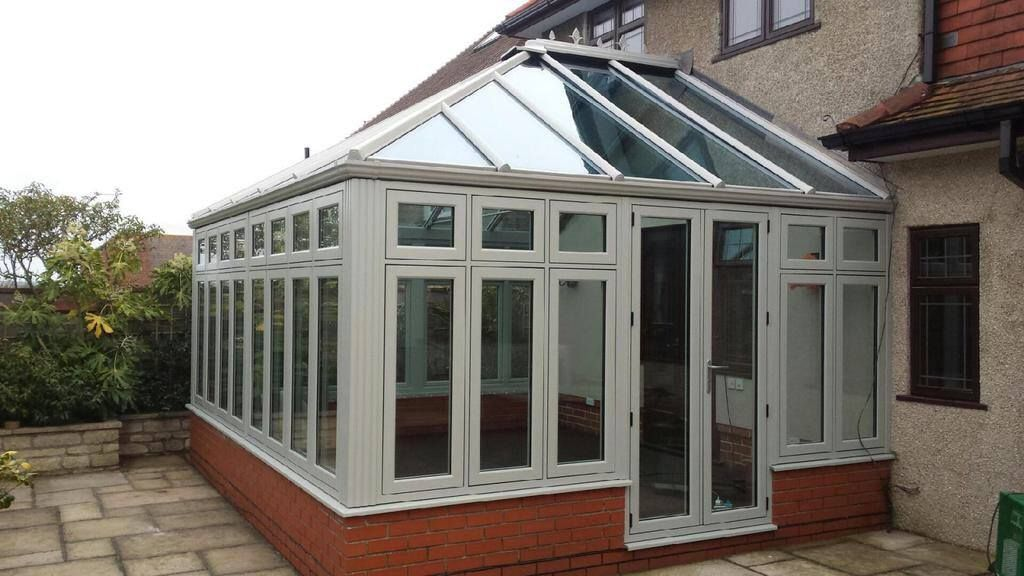 Residence9 orangery in the popular painswick colour for Conservatory doors exterior