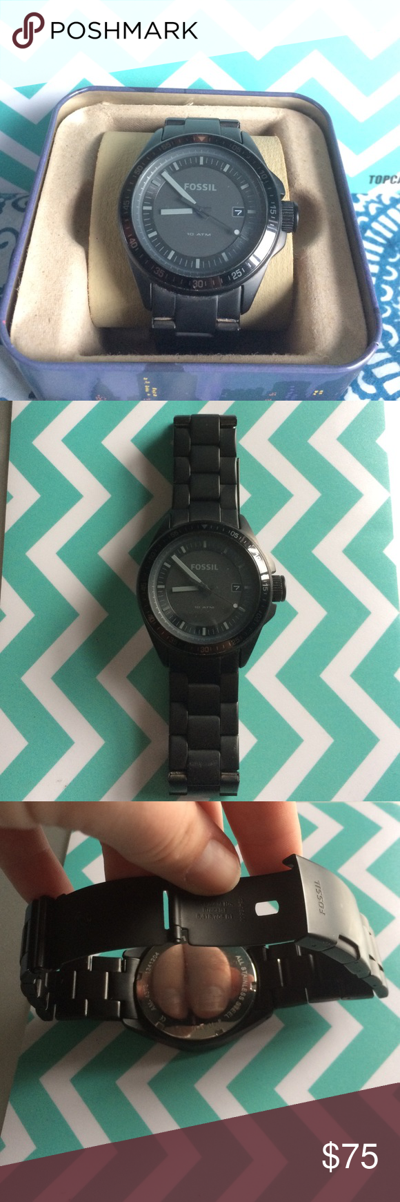 Fossil Men's Watch Gunmetal black with extra links and original box included,  tag also included but has been cut off, needs a new battery Fossil Accessories Watches