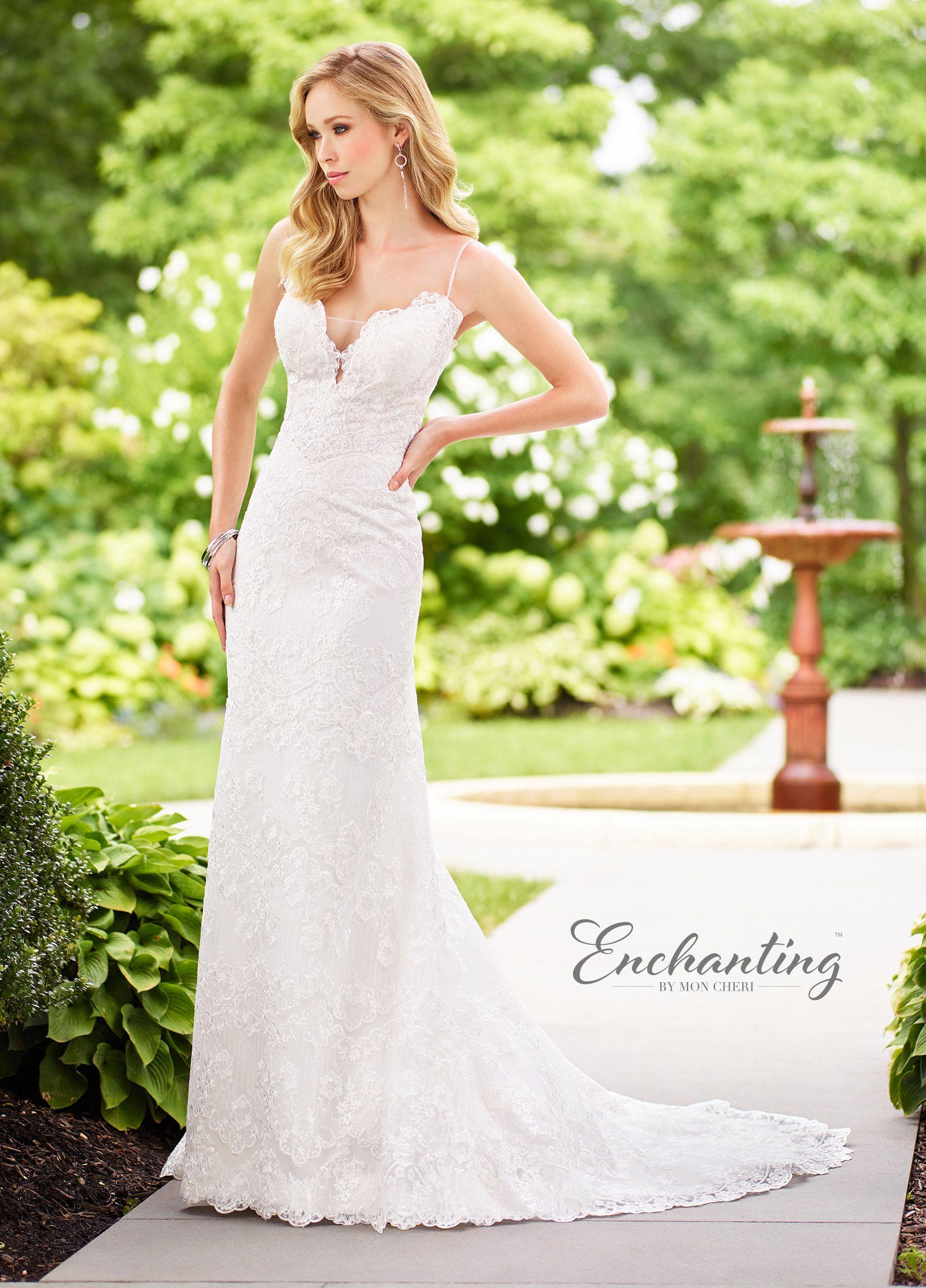 Lace spaghetti strap wedding dress    Chapel train Wedding dress and Wedding